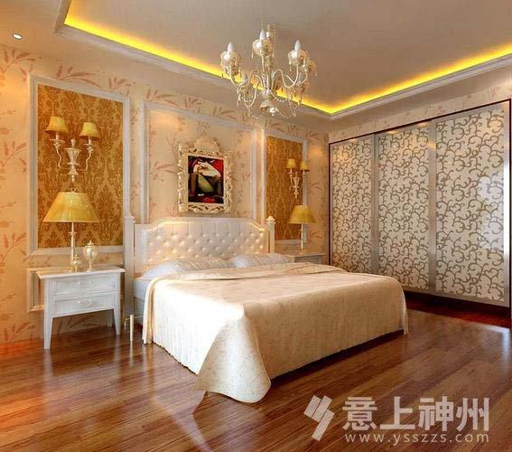 欧式卧室上壁纸下墙裙